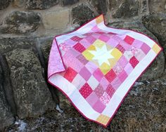 """Baby Blush"" custom #Starshine baby quilt {Berry Barn Designs} FREE PATTERN available with newsletter subscription on berrybarndesigns.com"