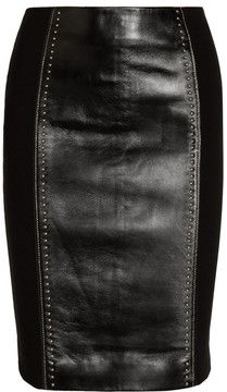 Versace Studded Leather and Jersey Pencil Skirt - Lyst Studded Leather, Leather And Lace, Leather Heels, Leather Skirt, Black Leather, Real Leather, Versace, Jersey Knit Skirt, Embellished Skirt