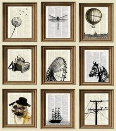 Black Ink Book Page Art . Feed old book pages through a printer to make fun and fabulous silhouette art. (Cheap wall art that looks like a million.) projekte papier Easy And Beautiful DIY Projects Made With Old Books Book Page Art, Old Book Pages, Old Book Art, Book Page Crafts, Diy Wand, Cheap Wall Art, Diy Wall Art, Diy Framed Art, Framed Wall
