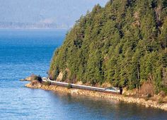 Most Stunningly Beautiful Train Rides in America: Cascades: Eugene, OR to Vancouver, BC 156miles $90 PNW doesn't disappoint. Trek from Eugene to Seattle is long trip thru evergreen forests, which expertly hides dense masses on I-5 corridor. Once you reach Seattle, real fun starts. Train travels along Puget Sound, & on clear day,  west-facing passengers get view of Olympic Mountains. It's a 4hr moving postcard, in-train Wi-Fi.