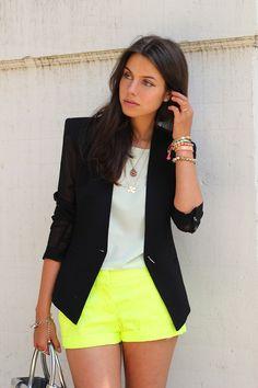 Neon yellow shorts with black blazer
