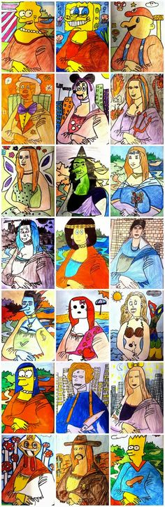 Mona Lisa - could have a whole unit on Mona and her significance/discussing art parody, art history, pop art Club D'art, Art Club, Programme D'art, Classe D'art, Pop Art, Mona Lisa, Artist Project, 6th Grade Art, Ecole Art