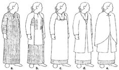 Sketches of various reconstructions of women's clothing
