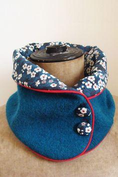 Col en laine bleu canard Liberty Mitsi – Tissumi