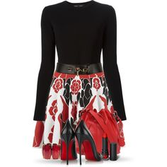 A fashion look from December 2014 featuring black sweater, red skirt and christian louboutin shoes. Browse and shop related looks.
