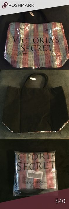 Victorias Secret sequin tote bag. Victorias Secret sequin tote bag. Brand new, never used. Just took out of plastic bag to take pics. Large size, fits a lot. Great for an overnight bag. Zipper closure Victoria's Secret Bags Totes