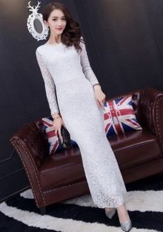 Buy Bare Back Long Sleeves Pattern Lace Evening Dress | mysallyfashion.com Malaysia