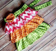 Rainbow sherbetChild size ruffle half apron by PaisleyPockets, $14.00