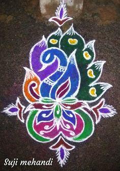 Peacock Rangoli, Small Rangoli, Diwali Rangoli, Easy Rangoli, Rangoli Designs Images, Beautiful Rangoli Designs, Latest Rangoli, Flower Decorations, Art Sketches
