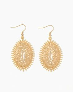 Shop fabulous exotic styles like this pair of Moroccan-inspired earrings. This exotic set features a lacy filigree motif lined with rhinestones on the interior.