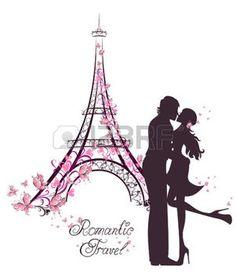 deux amoureux: Voyage lune de miel et romantique. Heureux jeune couple baiser amoureux en face de la Tour Eiffel, Paris, France. Illustration