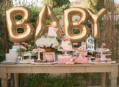 """Giant BABY Balloons -  40"""" Inch Gold Mylar Balloons in Letters B-A-B-Y  - Metallic Gold - Baby Shower Balloons, Shower Decorations"""