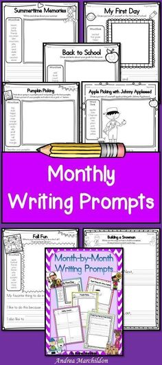 This Month-by-Month Writing Prompts packet will take you through the year! There are over 50 writing prompts for your students! Some themes include: back to school, picking pumpkins, holidays, seasons, and so many more! First Grade Activities, Back To School Activities, School Resources, Teaching Resources, School Ideas, Fun Writing Prompts, Cool Writing, Second Grade Writing, Third Grade