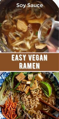 Nourishing Vegan Ramen is a flavorful blend of tofu, bok choy, green onion, ginger, mushrooms and ramen noodles, all simmered in a complex and savory broth. The perfect easy, plant-based cozy dinner or lunch for colder months! Best Tofu Recipes, Vegan Recipes Videos, Onion Recipes, Vegetarian Recipes, Healthy Recipes, Vegan Dishes, Food Dishes, Vegan Ramen, Ramen Noodles