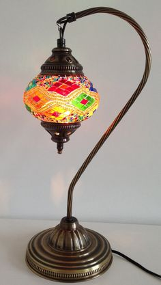 Handmade mosaic lamp with vintage style metal by TheLampCorner