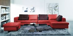 Red XL Leather Sectional  - Ottoman Included -  $2,750.00