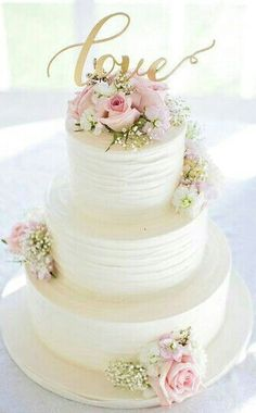 20 simple wedding idea inspirations simple weddings wedding cake wedding cakes white pink and gold wedding cake idea three tier white wedding cake with pink roses gold love modern calligraphy cake topper willow junglespirit Gallery