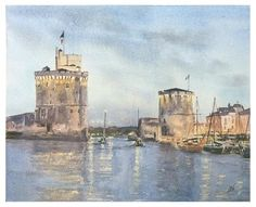 watercolor painting, night painting, original watercolor, La Rochelle, hand made painting Original by JP Wisniewski Watercolor Paintings, Original Paintings, Order Photos, Arches Paper, How To Make Paint, Blue Hour, Travel Photos, San, France