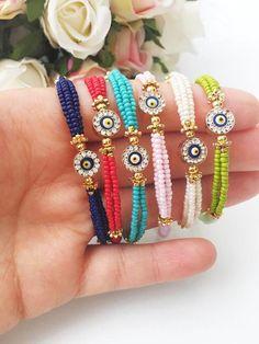 This item is unavailable - Miyuki bracelets evil eye bracelets dark blue bracelet evil Cute Jewelry, Diy Jewelry, Handmade Jewelry, Handmade Bracelets, Jewelry Necklaces, Jewelry Accessories, Jewelry Making, Evil Eye Jewelry, Evil Eye Bracelet