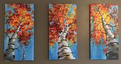 Acrylic painting on canvas  3x 12x24 inches  Signed and dated.  One of my favourite paintings that will brighten up any room. I could stare at this painting all day :) I have decided to paint aspen trees after my recent trip to Colorado. It was such a beautiful sunny october day and I knew I