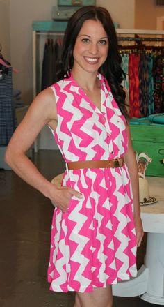 Dottie Couture Boutique - Belted Chevron Dress- Pink, $48.00 (http://www.dottiecouture.com/belted-chevron-dress-pink/)