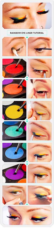 It is MUCH easier to apply the eyeshadow colors to your eye first (creating the rainbow) and THEN applying your black liquid liner
