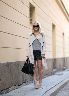 Trench coat, Grey T-shirt, Black Shorts, Balenciaga Bag