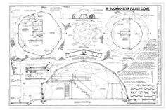 The working drawings for Buckminster Fuller's own home.  Contrary to urban legend, Bucky did not design it!  It was a Pease Dome, a prefab dome designed by Alvin Miller.  Miller patented the dome. Bucky was the first to use the Pease Dome as a home. Bucky never designed any actual dome. He patented the geometry for them and named them geodesic and consequently has been getting the credit for others' work.
