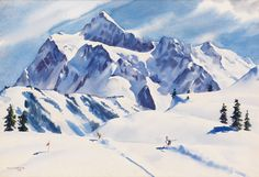 """Morning Run--Mount Shuksan,"" Dwight Clark Shepler, 1938, watercolor on drawing board, 15 x 21 3/4"", private collection."