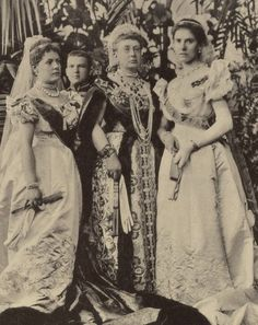 Grand Duchess Vera with her daughters Elsa and Olga. Dressed in court dress for…