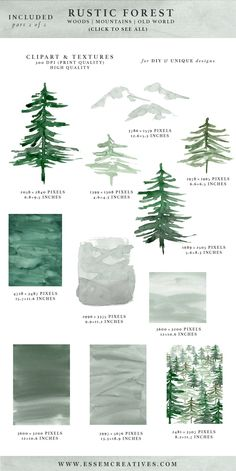 Rustic Forest Watercolor Backgrounds, Geometric Rose Gold Wedding Invitation Clipart, Conifers Pine Trees Mountains Hills Woodland Graphics, Watercolor Wedding Invitations, Printable Rustic Mountain Invites & Save the Dates #weddinginvitation
