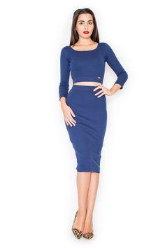 Granatowa sukienka ołówkowa z długim rękawem