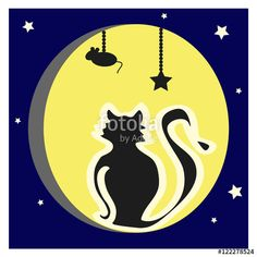 Vector Illustration - The cat on the background of the full moon