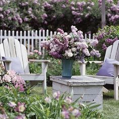 lilacs   ...old bee hive for a table..love it