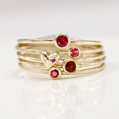 Ruby Garnet & Heart Stacking Rings in Solid 14k Gold, Red and Pink Stack Ring Set of 5, Padparadscha Sapphire, Heart Ring