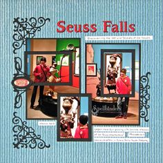 Seuss Falls Scrapbook Page by Judy Hayes. Judy used @Spellbinders Die D-Lite ATC dies to frame out her pictures in playful style.