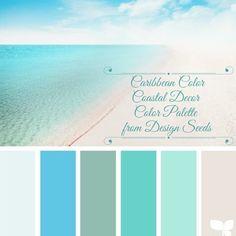 Coastal Decor Color Palette Caribbean Color From beach color palette living room beach house decor Exterior Paint Colors For House, Paint Colors For Home, Exterior Colors, Paint Colours, Exterior Shutters, Diy Exterior, Teal Paint, Blue Shutters, Cottage Exterior