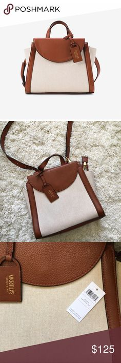 nwt kate spade saturday • the mini a satchel new with tags • canvas + leather • british tan • rare • no lowballing kate spade Bags Satchels