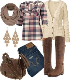 + love the boots and the jeans and earrings, also the IDEA of the sweater -the scarf and bag are too much the plaided shirt should have a diffrent color combo and like I said I like the idea of the sweater but it should be a cardigan