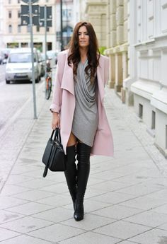Fashionable Fall Outfit Idea with High Boots