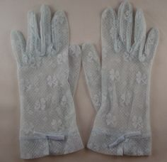 Ladies Vintage Baby Blue Lacy Gloves by oniemaes on Etsy, $11.00