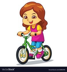 Girl riding new green bicycle vector image on VectorStock Drawing For Kids, Art For Kids, Airplane Coloring Pages, Aqua Wallpaper, Action Pictures, Flashcards For Kids, Kids Background, Human Drawing, Baby Clip Art