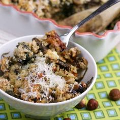 Mushroom Spinach and Brown Rice Casserole