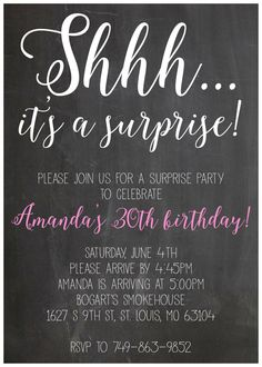 Shhh Its A Suprise Party Birthday Invitation 5x7 Digital File