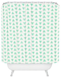 Allyson Johnson Minty Triangles Shower Curtain contemporary-shower-curtains