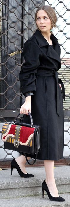 Work Wear~Max Mara Black Belted Maxi Coat, Mango pumps, Paula Cademartori bag, Ines Atelier earrings