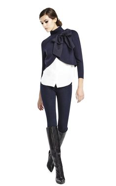 Addison Bow Collar Crop Jacket Alice & Olivia