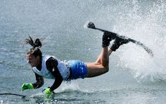 Regina Jaquess falls during the slalom heat competition in TO