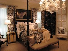 English Country Cottage Bedroom - Love the chandelier!