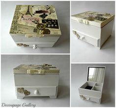 Komódka szkatułka na biżuterię - romantyczny motyw podróży i Paryża - Więcej na mojej stronie na fb - Decoupage Gallery